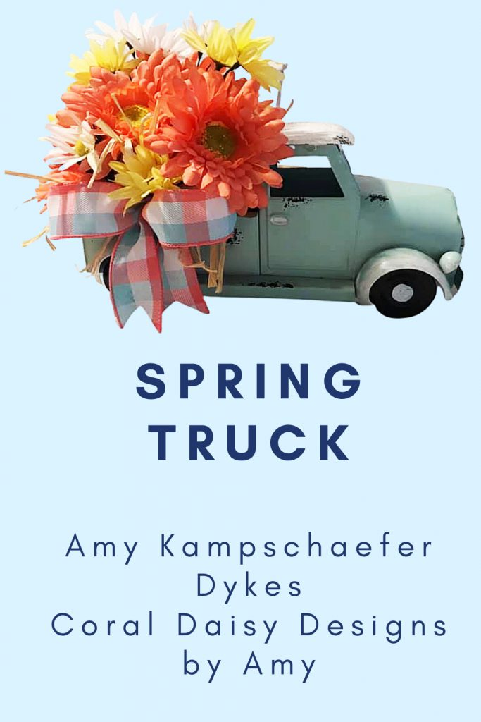 spring truck, daisies