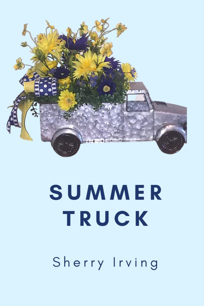 summer truck with yellow flowers