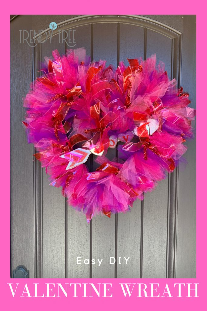 tulle valentine wreath, easy diy wreath