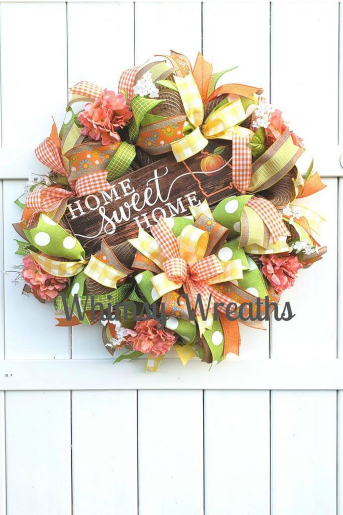 Fall wreath, autumn wreath, welcome fall door wreath