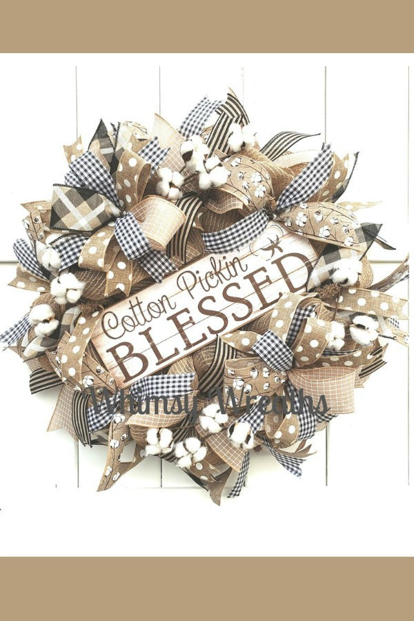 cotton pickin blessed, summer wreath, cotton wreath, blessed wreath