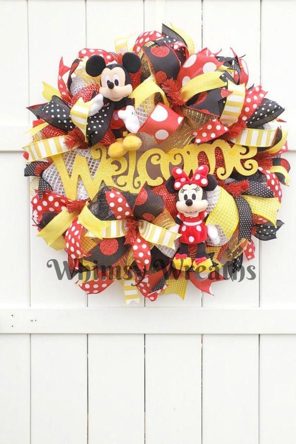 mickey mouse wreath, welcome mickey wreath