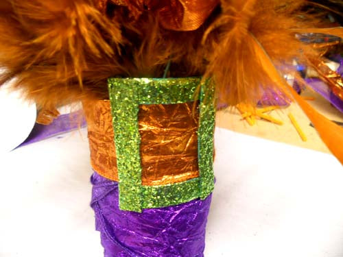 witch boot made of chicken wire and metallic ribbon