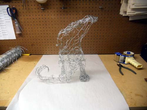 witch boot made from chicken wire deco poly mesh and metallic ribbon