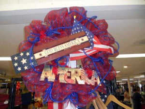 work wreath in red blue americana style