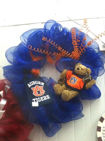 auburn wreath made from work wreath, blue netting and curly sprays