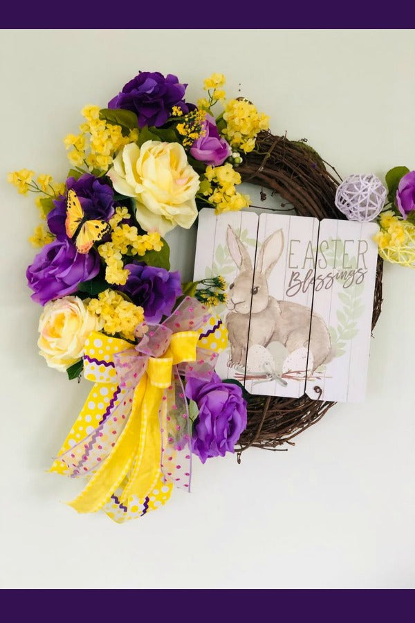 easter wreath, bunny wreath, easter blessing