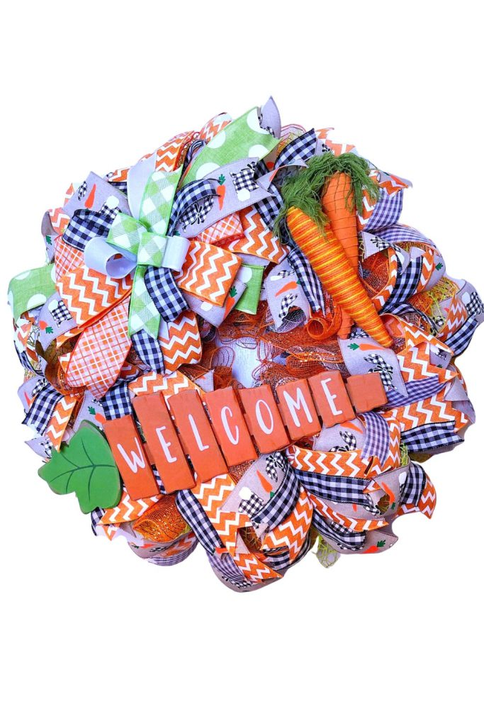 easter wreath, carrot wreath, welcome easter wreath