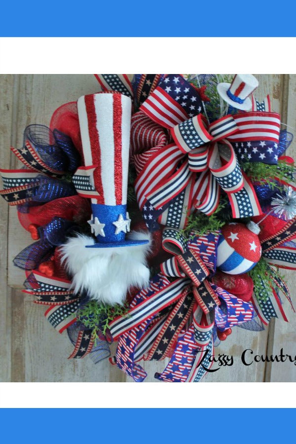 patriotic wreath, uncle same wreath, red white blue wreath
