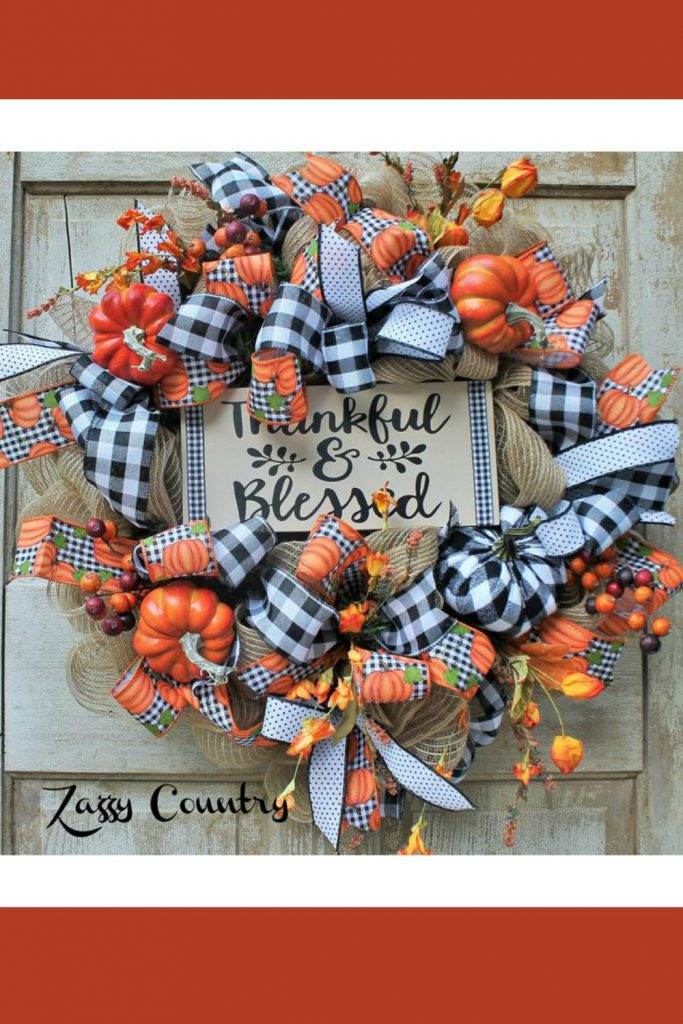 fall pumpkin wreath, thanksgiving wreath, thankful wreath, blessed wreath