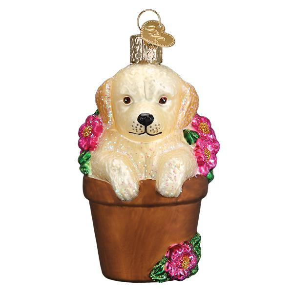 Puppy in Flower Pot Old World Christmas Ornament 12559