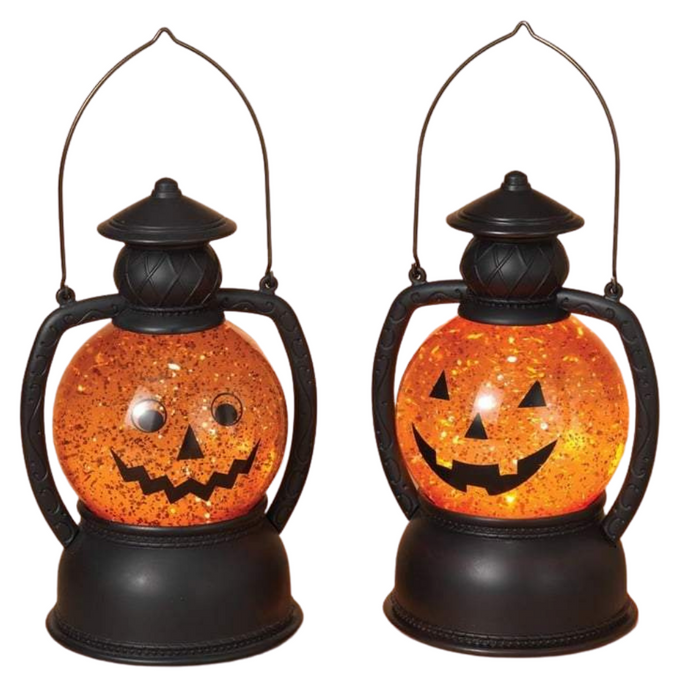 "7.8"" Lighted Halloween Spinning Water Globe Pumpkin Face 2359180"
