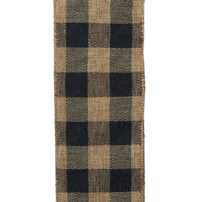 "1.5"" Dark Tan Black Classic Check Ribbon 47105-09-21"