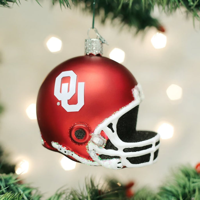 Oklahoma Football Helmet Old World Christmas Ornament 60417