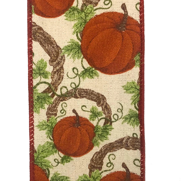 "2.5"" Canvas Pumpkin Grapevine Wreath Ribbon 61006-40-38"