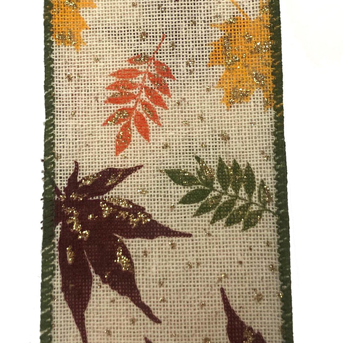 "2.5"" Canvas Fall Leaves Moss Burgundy Yellow Ribbon 61019-40-49"