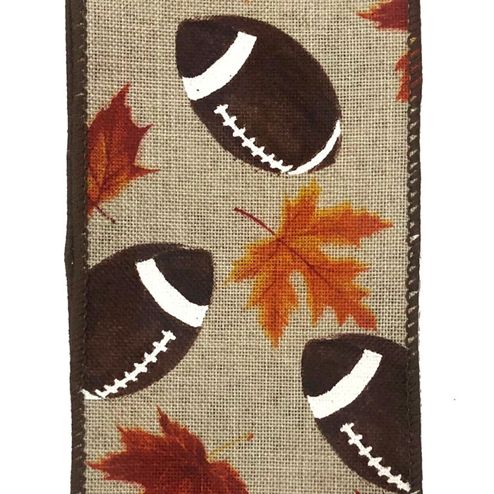 "2.5"" Natural Linen Football & Leaves Ribbon 61031-40-38"