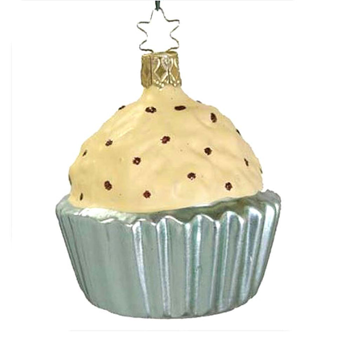 Cream Frosting Cupcake Blue Cup Inge-Glas Christmas Ornament 68079