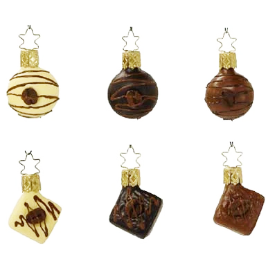 Chocolates with Coffee Bean Christmas Ornament Inge-Glas of Germany 68101