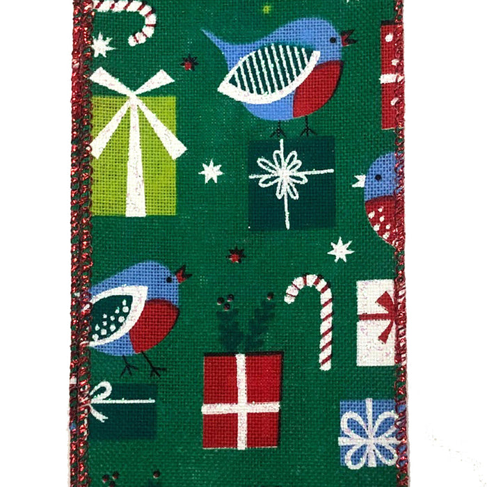 "2.5"" Emerald Linen Blue Presents Birds Christmas Ribbon 71014-40-04"