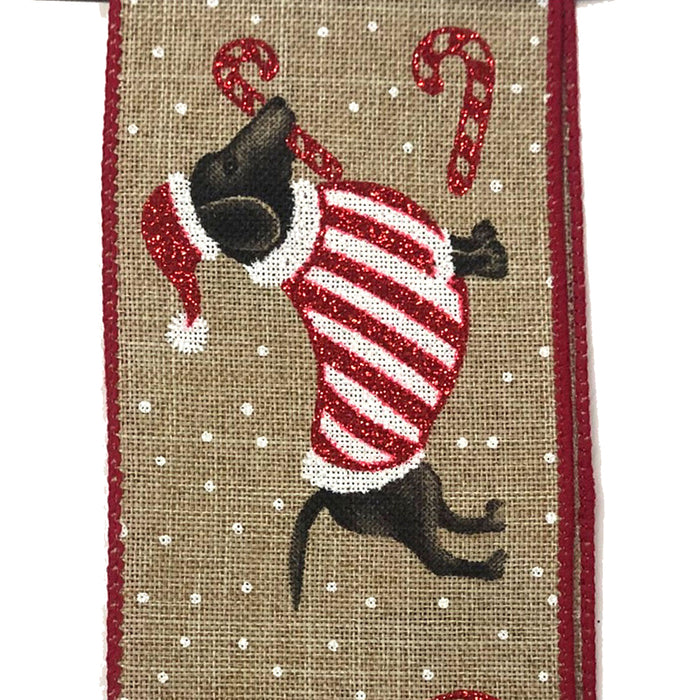 "2.5"" Natural Linen Christmas Doggies Ribbon 71025-40-21"