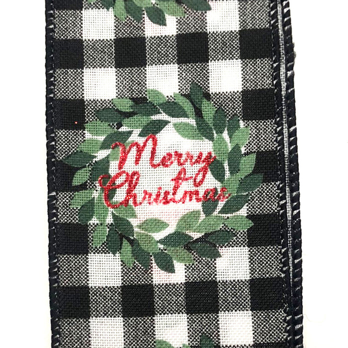 "2.5"" Black White Buffalo Check Modern Merry Christmas Wreath Ribbon 71061-40-01"