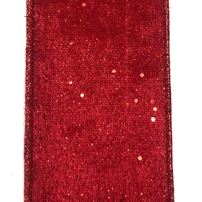 "2.5"" Red Glitter Lush Velvet Ribbon 72022-40-12"