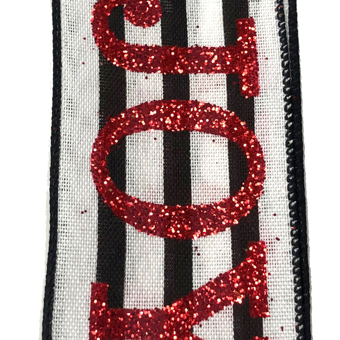 "2.5"" White Linen Black Stripe Red Glitter Joy Christmas Ribbon 72071-40-12"