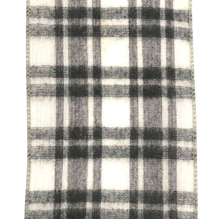 "4"" Brushed Grey White Plaid Ribbon 72073-04-51"