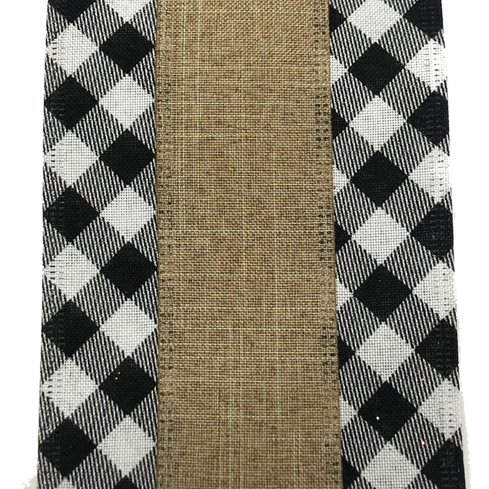 "4"" Black White Plaid Edge Natural Center Ribbon 75029-04-21"