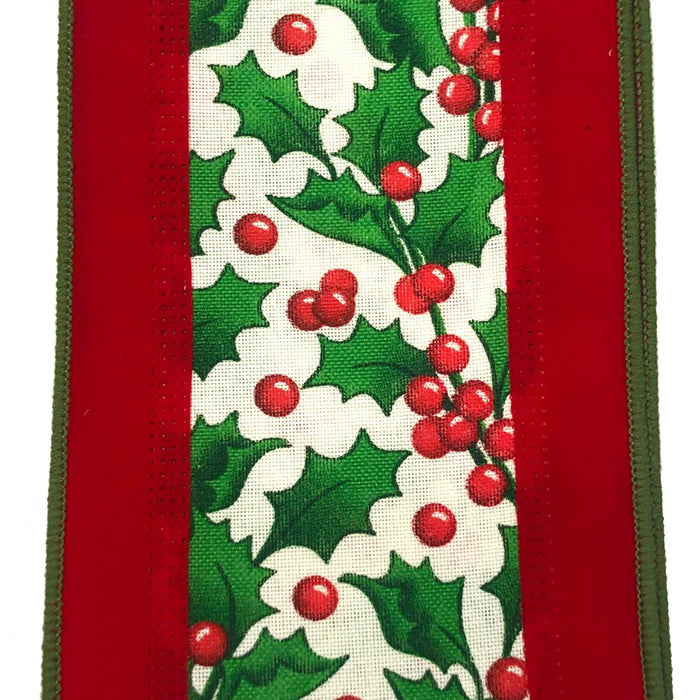 "4"" Bright Red Velvet Holly Canvas Center Christmas Ribbon 78016-04-01"