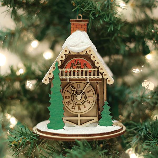 Alpine Time Clock Shoppe Old World Christmas Ginger Cottage Ornament 80022