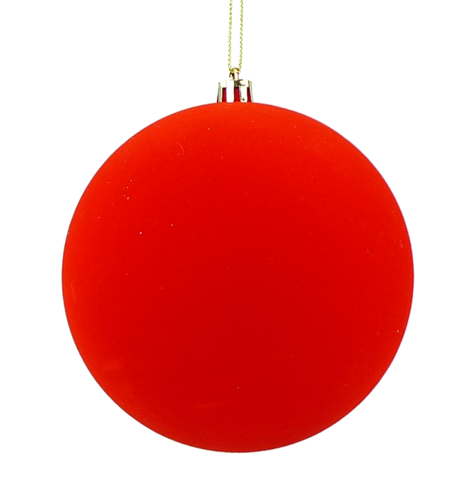"5"" Red Flocked Ball Christmas Ornament 84870RD"