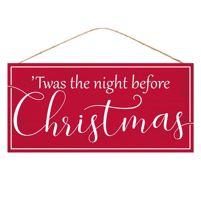 "12.5"" Twas the Night Before Christmas Red Sign AP7072"