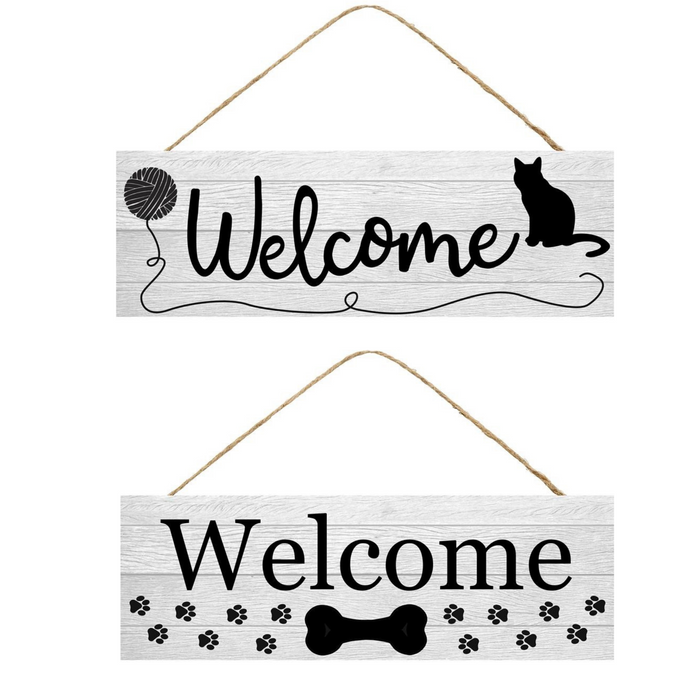 Assorted Welcome Cat or Dog Wall Hanging AP802199