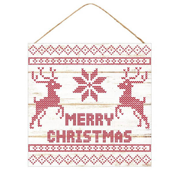 "10"" Square Merry Christmas Sweater Print Christmas Sign AP8297"