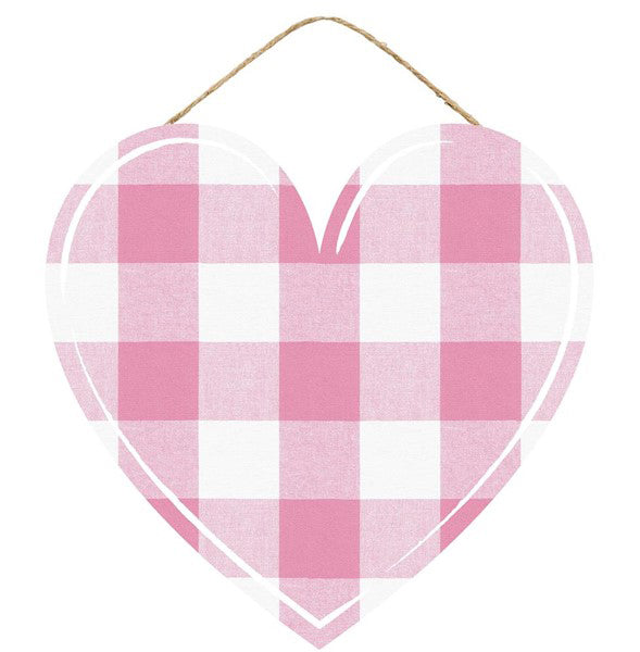 "12"" Pink White Plaid Heart Sign AP858322"