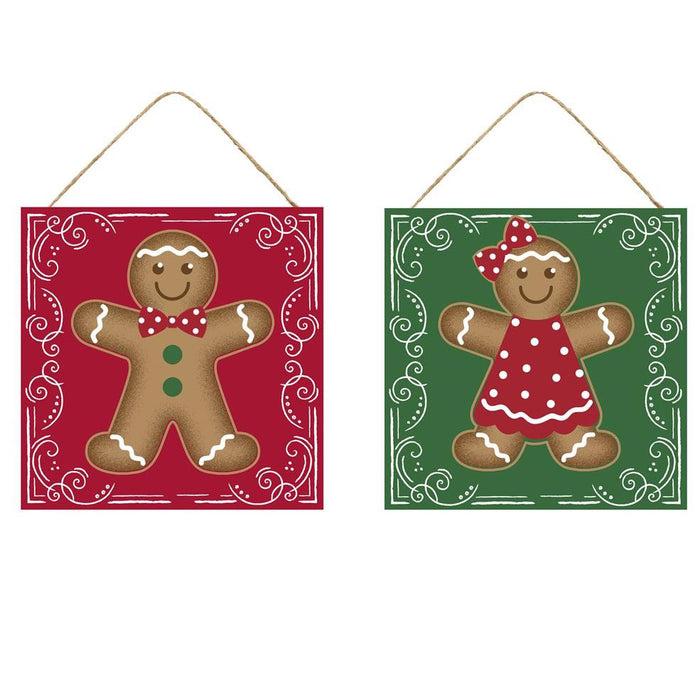 "11.75"" Gingerbread Boy or Girl Assorted Christmas Sign AP8709"
