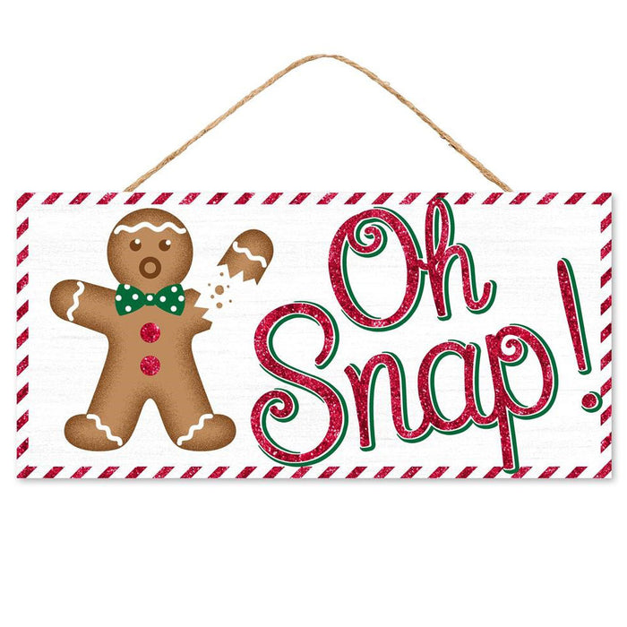 "12.5"" Oh Snap! Glitter Gingerbread Boy Christmas Sign AP8814"