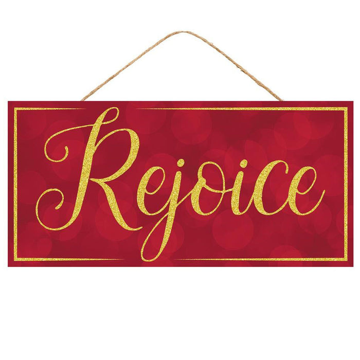 "12.5"" Red Rejoice Gold Glitter Christmas Sign AP8815"