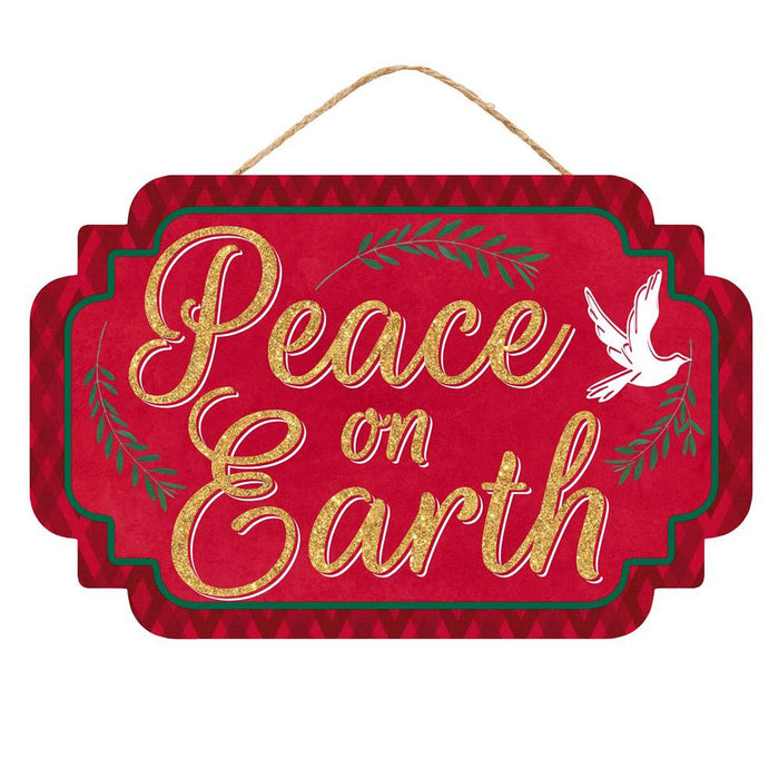 "12.5"" Red Gold Peace on Earth Christmas Sign AP8816"