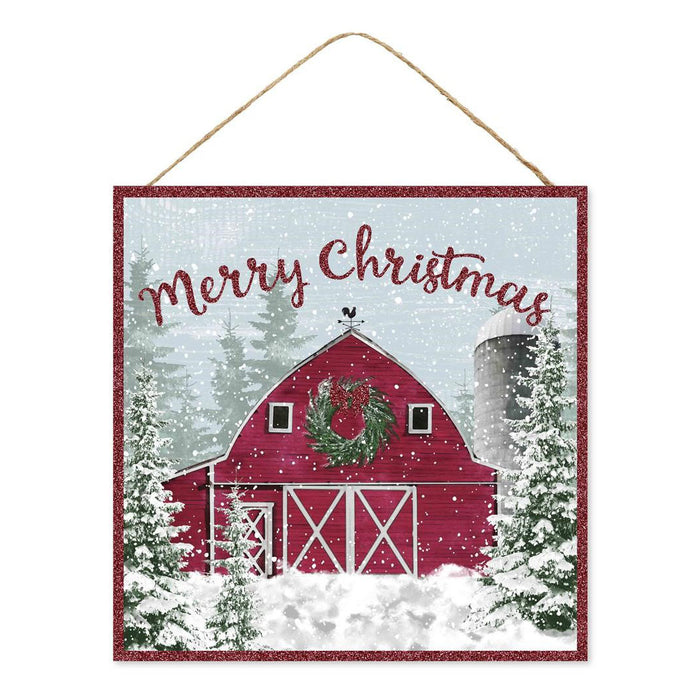 "10"" Merry Christmas Snowy Red Barn Christmas Sign AP8825"