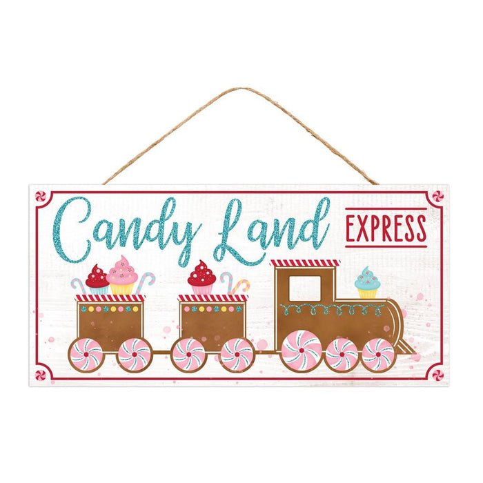 "12.5"" Candy Land Express Gingerbread Train Christmas Sign AP8860"