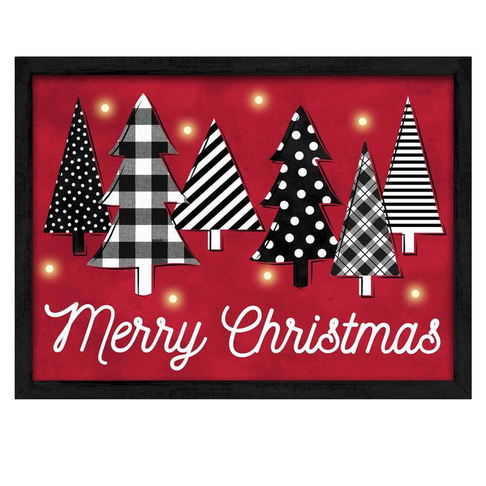 "15.75"" Lighted Merry Christmas with Trees Christmas Sign AS2009"