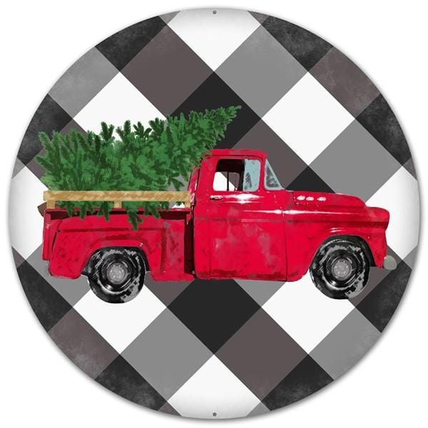 "12"" Vintage Red Truck Black White Buffalo Check Christmas Sign MD0445"