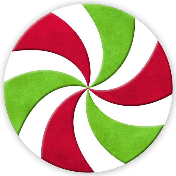 "12"" Red White Green Peppermint Round Embossed Metal Christmas Sign MD060031"