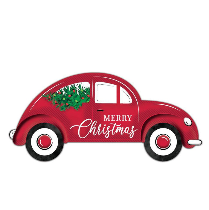 "12"" Embossed Metal Red Bug Car Christmas Sign MD0669"