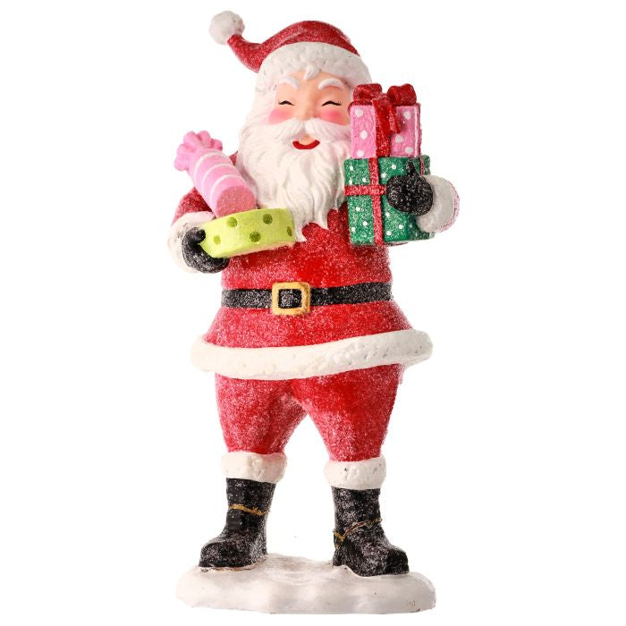 "12.5"" Resin Santa with Packages Christmas Decor MTX65418-MULT"