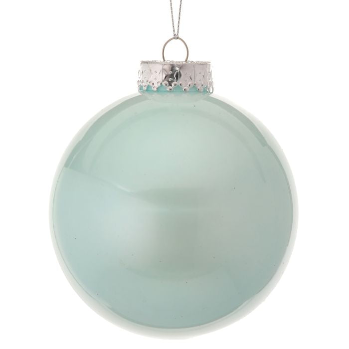 "4"" Glass Look Aqua Blue Christmas Ball Ornament MTX65642-AQBL"