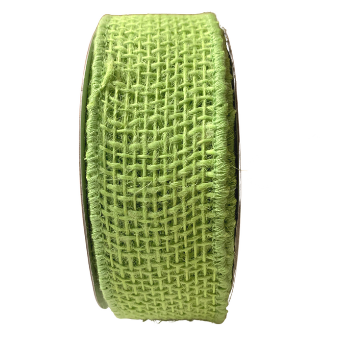"1.5"" Lime Green Loose Weave Burlap Ribbon RA131830"